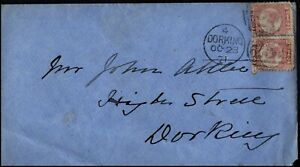 GB 1871 1/2d Rose Pair SK TK Dorking Duplex Ockley Rear
