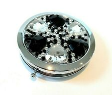 "COMPACT MIRROR ""ladies gift"" SILVER METAL ROUND 70mm -BLACK/CLEAR CRYSTAL-BOXED"