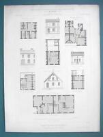 ARCHITECTURE PRINT 1869 - MODEL HOUSES at Paris 1867 Expo Plans Facades