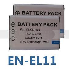 2X Camera Battery For NIKON EN-EL11 PENTAX D-LI78 OLYMPUS Li-60B RICOH DB-80