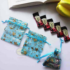 """100PCS 4"""" X 3"""" Turquoise w/Gold Musical Note Stars Organza Pouches Jewelry Bag"""