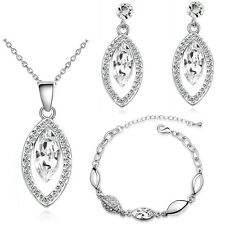 Bridal White Evening Party Jewellery Set  Stud Earrings Bracelet & Necklace S822