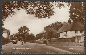 Postcard East Preston nr Worthing Sussex vintage view of Sea Road RP