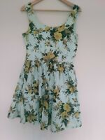 Revival Mint Green Floral Sleeveless Women's Fit Flare Cotton Dress Size 12