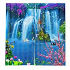 3D Waterfull Window Curtains Blackout Pavilion Curtains for Living Room