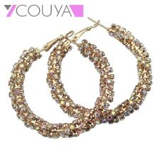 Gold Plated Flower Hoop Earrings for Woman Rhinestone Crystal Large New Gifts