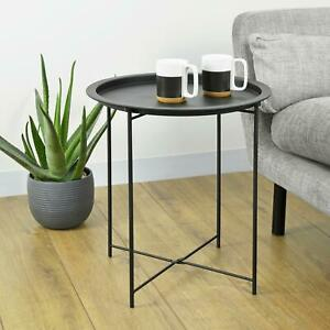 Folding Round Coffee Table Sofa Side Small Night Stand End Table Metal Tray Top