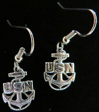 USN Symbol for Rank Chief Petty Officer Earrings US U.S. Navy Matte Silver Ox