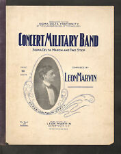 Concert Military Band 1907 CLARKSON U Sigma Delta Frat Piano March Sheet Music