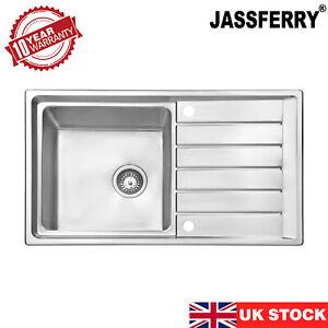 JASSFERRY Stainless Steel Kitchen Sink Single Bowl Inset Reversible Drainboard