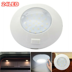 12V-24V Switch Control Round Boat RV 24LED Light Car Roof Reading Ceiling Lamp
