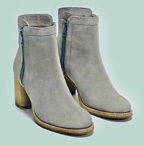 BRAND NEW Frye Addie Double Zip Boot 76621 Suede Grey 3476621 Women's Size 9.5 M