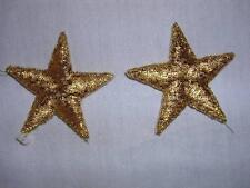 "10 pcs Venise Lace Gold Metallic Stars Applique 1-3/4""  Iron On Stars-G12"