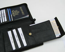 BLACK PASSPORT COVER Travel Air Ticket Boarding Pass Leather Organizer FREE SHIP