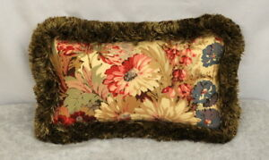 NEW Fringed Custom Pillow made w Ralph Lauren Coastal Garden Floral Fabric 12x7