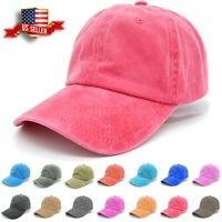 Baseball Cap Mens Cotton Dad Hats Washed Ball Cap Polo Style Solid Adjustable