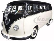 1958 VOLKSWAGEN BUS MINIBUS BLACK/BEIGE/GREY 1:12 DIECAST MODEL BY SUNSTAR 5064