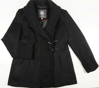Vince Camuto Black Wool Coat Toggle Button Snap Knit Shawl Collar Petite L