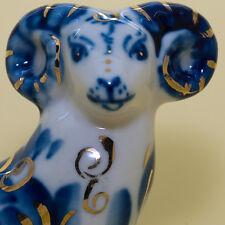 Goat Sheep gzhel Figurine in blue, gold Symbol of the 2015 porcelain handmade