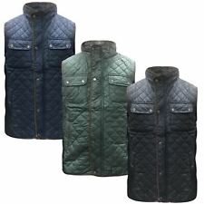 Mens Diamond Quilted Padded Lined Gillet Sleeveless Body Warmer Jacket M-4XL