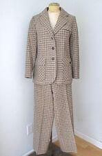 VGC Vtg 60s 70s Brown Taupe Check Wool Tweed 2-Pc Hacking Jacket Pant Suit Set M