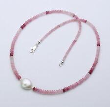 Turmalin Kette - Rosa Turmaline aus Myanmar mit Perle 50 cm