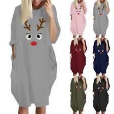 Womens Jumper Mini Dress Ladies Oversized Baggy Long Sleeve Pocket Pullover Tops