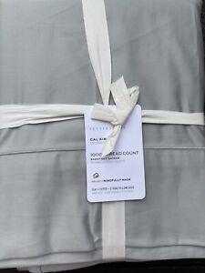 Pottery Barn 1000 Thread Count Sateen Luxury Sheet Set Cal King Gray Mist - NEW