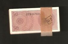 INDONESIA 50 SEN P94 1964 RARE REPLACEMENT X 100 PCS BUNDLE LOT UNC MONEY NOTE