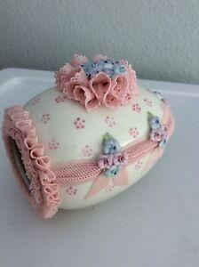 Glass Irish Dresden Figurine Porcelain Pink Lace EASTER Egg Bunnies Rabbit Bunny