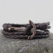 Coffee PU Braided Leather Copper Anchor Bracelet Bangle Wrap Around Multi Layer