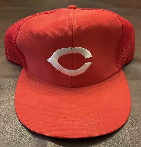 Vintage Cincinnati Reds Mesh Trucker Hat Snapback Size M/L MLB U.I.I. NICE