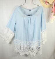 New Women's Summer Blue Crochet Lace Boho Tunic Peasant Top Blouse Shirt 2X NWT