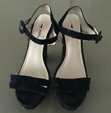 I LOVE BILLY Black Suede Open Toe Ankle Strap Heels Size 40 (9) - Lovely