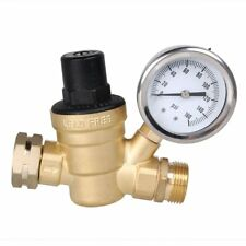 "Brass Water Pressure Regulator Adjustable Gauge 160 PSI 3/4"" NH Thread for RV"