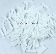 Vtg 2 HANKS PURE CHALK WHITE SATIN AUSTRIAN BUGLE BEADS NOS 9MM #102009r