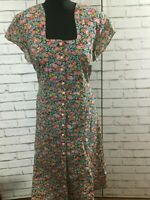 90s Vintage Flower Ditsy Grunge Day Dress Paisley Size M