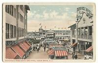Postcard Boardwalk From North End Hotel Ocean Grove NJ 1916