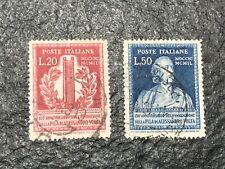 ITALY ITALIA 20&50 L. 150º Volta Sass. 611-612 (1949)  Used XF -  CV +50 Euros