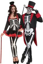 Couples Ladies AND Mens Skeleton Bones Halloween Fancy Dress Costumes Outfits