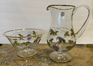Handcrafted Crystal Clear Pitcher & Bowl Grape Motiff Gold Trim Made in Romania