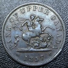 1857  BANK OF UPPER CANADA - ONE PENNY BANK TOKEN - COPPER - Dragon Slayer BR719