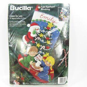 1996 Bucilla Felt Applique Christmas Stocking Kit #83391 Cookies for Santa