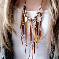 New Women Boho Faux Suede Coin Beads Tassel Pendant Sweater Chain Necklace