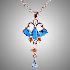 Charm Fancy Blue Sapphire & Morganite Gemstones Silver Chain Necklace Pendant