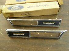 NOS OEM Ford 1969 Galaxie Front Fender Marker Lamp Bezels Ornaments Emblems