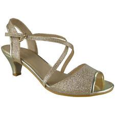 Womens Peeptoe Sandals HEELS Ladies Wedding Bridesmaid Bridal Party Shoes Sizes UK 8 / EU 41 / US 10 Gold