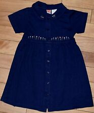 GIRLS DRESS SZ 7 NAVY COTTON KNIT SS FLOWER BUTTON FRONT FLORAL EMBROIDERY EUC