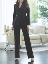 size 14 Jojo Clean Lines Black Pant Suit Set career wear by Midnight Velvet new