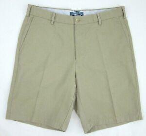 "Peter Millar Crown Golf 100% Pima Cotton Khaki Twill 9"" Shorts Size 34 MINT!"